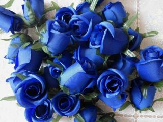 100X Silk Flower Head Blue Rose Artificial Silk Flower wholesale