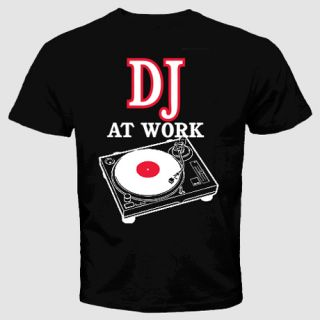 DJ T Shirt at Work Funny Cool Music Clubbing Wear Head Phones Party