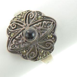 Vintage Sterling Silver Black Onyx Marcasite Ring 8 YA665