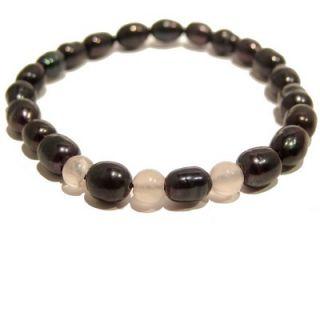 Pearl Bracelet 01 Stretch Rose Quartz Black Pink Crystal Healing