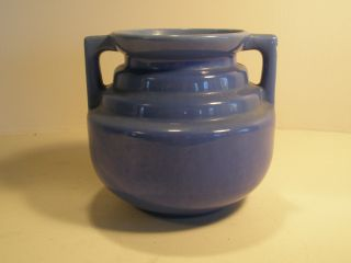 Blue Ringed Vase Pottery Brush McCoy D 8