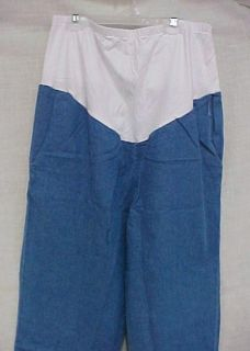 maternity scrub pants blue denim stretch panel m nwot