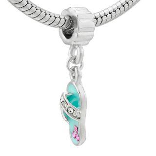 Pugster Blue Shoe Silver Tone Charm Bead for Bracelet M84