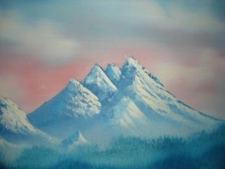 Vintage Oil Paint Snow Mountain Blue Forest Lake View