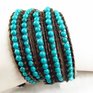 Handcrafted Natural Turquoise on Brown Leather Multi Wrap Bracelet K18