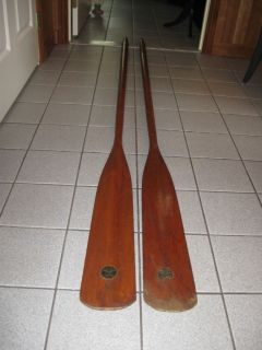 ANTIQUE WOODEN PAIR OF BOAT OARS SMOKERS QUALITY BRAND MAKER LABELS IN