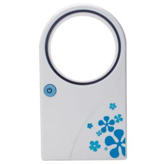 No Leaf Air Condition Mini Bladeless Fan with USB Cable Blue