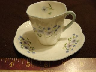 Fine Bone China Shelley England Tea Cup and Saucer Blue Rock