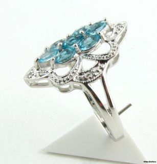 Blue Topaz Flower Ring CZ Accents Sterling Silver Size 6 6 25 Womens