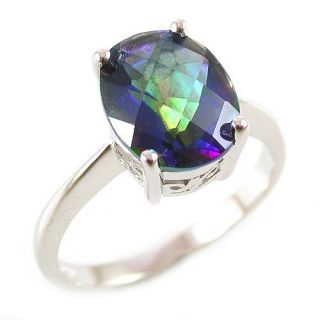5ct Genuine Rainbow Blue Topaz Ring 925 Sterling Silver Size 8 Oval