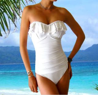 Bust Enhancing One Piece Ruffled Swimsuit Swimwear Bathing Suit Swim
