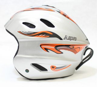 New Allpro Ski Snowboard Winter Sports Helmet Silver Orange Alien s M