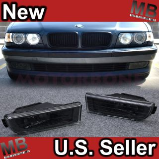 95 01 BMW 7 Series E38 Front Bumper Fog Light Black Clear Direct