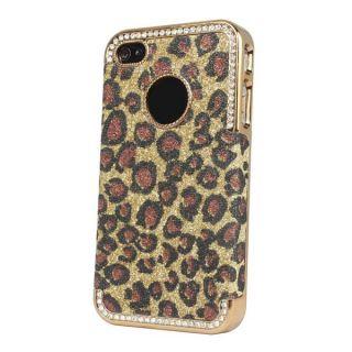 Bling Glitter Rhinestone Leopard Hard Case Cover for Apple iPhone 4 4G