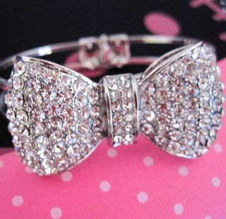 Bling Rhinestone Bow Jewelry Bangle Bracelet Adjustable