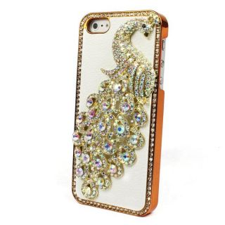 Leather Peacock Diamond Rainstone Bling Case Cover Skin for iPhone 5