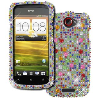 Silver Multi Bling Jewel Hard Case Cover Phone Display Stand for HTC