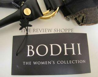 Bodhi Metallic Striped Drawstring Tote Bag Black Brown Gold $198