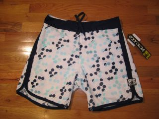 NWT BODY GLOVE MENS BLUE AND WHITE DOT SURF SWIM BOARD SHORTS Size 36
