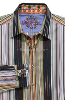 ROBERT GRAHAM GALION (XL) Black Blue Olive Green Embroidery Stripe