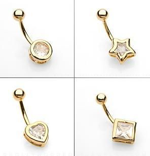 of Gold Plated Belly Navel Ring Body Piercing Jewelry