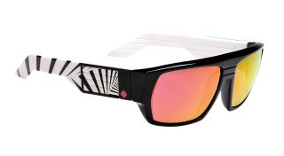Spy Optic Blok Sunglasses Black with White 80s Red Spectra