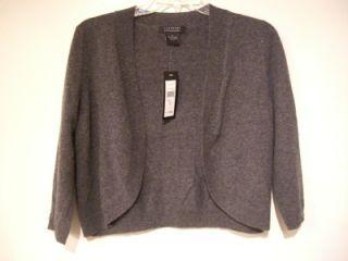 NWT 100% Cashmere Shrug Bolero Cardigan GRAY XL