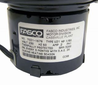 New Fasco 7021 1679 Inducted Blower Fan Motor Assembly 230V Type U21