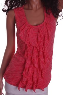 Womens Coral Salmon Orange Tank Top Sleeveless Ruffle Shirt Blouse
