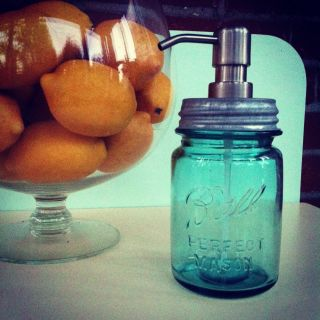 Blue Ball Pint Mason Jar Soap Lotion Dispenser
