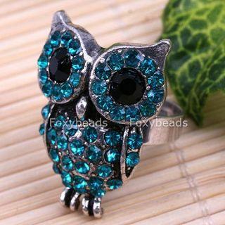 blue crystal cute owl tibet silver fashion gift ring