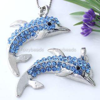 Blue Crystal Cute Dolphin Silver Plate Charm Pendant