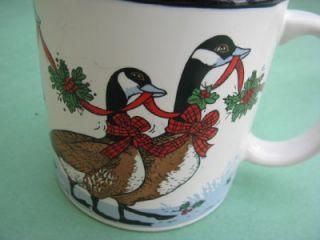 Christmas Xmas Mug Geese Ribbon Holly Red Blue Brown
