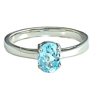 7x5mm Oval Shape Sky Blue Topaz Solitaire Ring