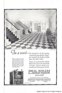 1924 Ideal Boilers and American Radiators 2 Vintage Print Ads Save