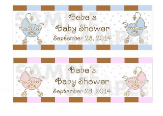 Whimsy BEBE Pink BEBE Blue Baby Shower Water Bottle Label Wrappers