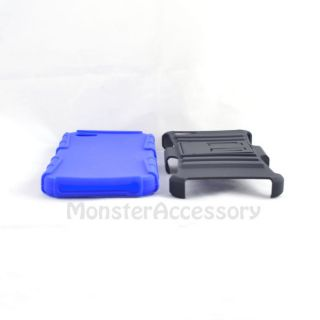 BLACK BLUE RHINO KICKSTAND HARD CASE GEL COVER FOR APPLE IPHONE 5
