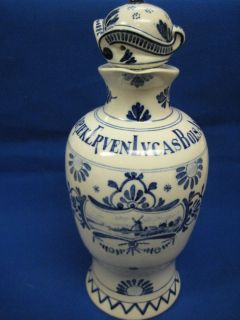 Antique Porceleyne Fles Royal Delft Bols Decanter Bottle
