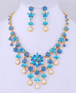 Blue Tassel Wedding Rhinestone Imitate Pearl Set Bib Huge Necklace