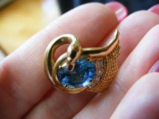 14k Blue Topaz Diamond Swan Bird Pin Animal Brooch Critter