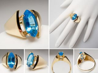 Natural Blue Topaz Cocktail Ring Marquise Cut Solid 14K Gold Jewelry