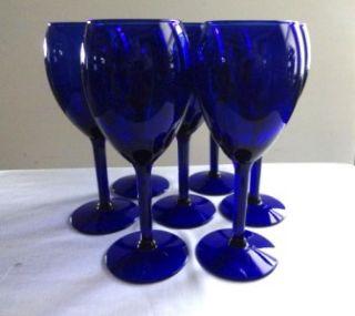 COBALT BLUE TALL STEMMED WINE/WATER GLASSES   SET OF 7  8 oz
