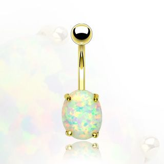 14k Solid Gold Belly Navel Ring Body Jewelry Opal Stone