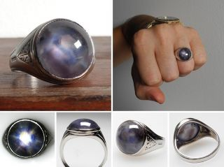 vintage estate mens natural blue star sapphire cabochon ring solid