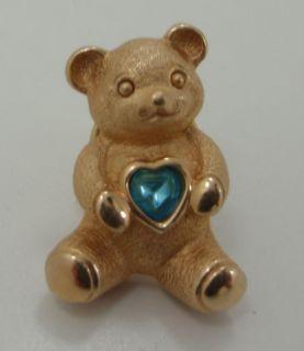 Avon Teddy Bear Blue Topaz Birthstone Dec Pin Brooch