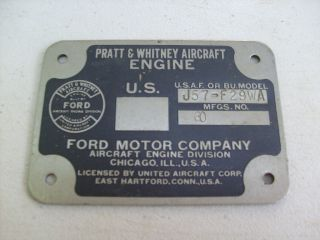RARE Boeing B 52D USAF Aircraft P w Engine Metal Identification Plate