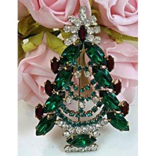 Vintage Style Husar D Costume Jewelry Christmas Tree Brooch Designer