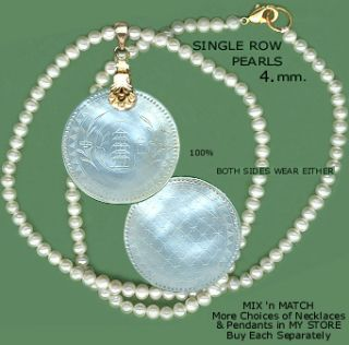 PAGODA Antique Chinese Mother Pearl Gaming Chip Pendant ROUND, DIAPER
