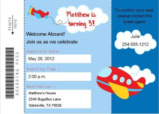 24 Airplane Boarding Pass Birthday Baby Shower Invitations