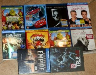 Lot of 10 Blu Ray/DVD Movies Cars, Shrek, True Blood Boxsets and More